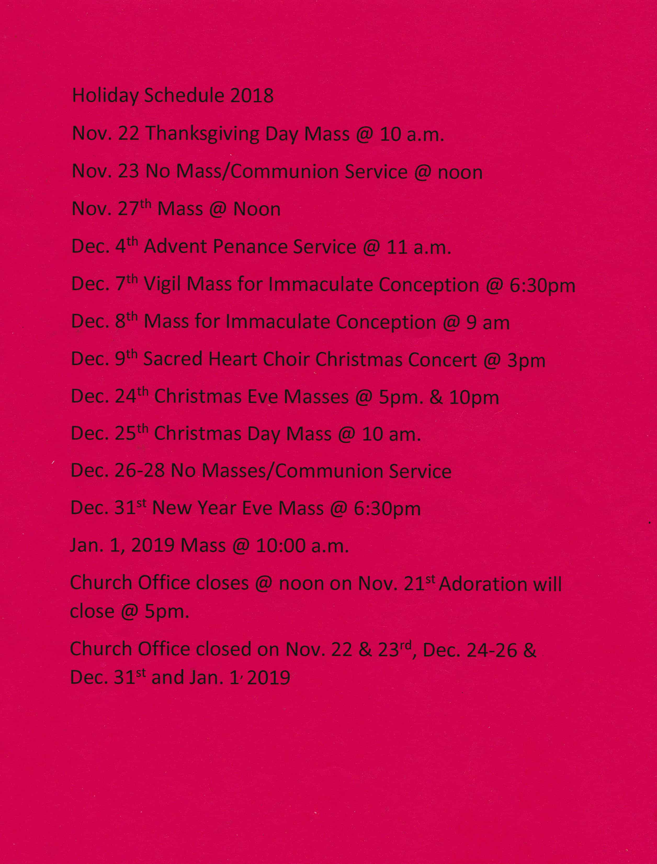 Holiday Mass & Penance Schedule